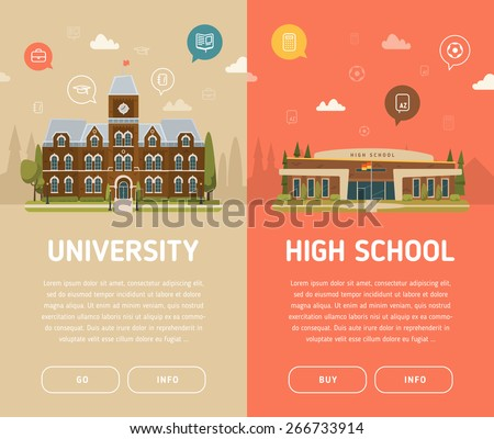 University building and high school building vector illustration - stock vector