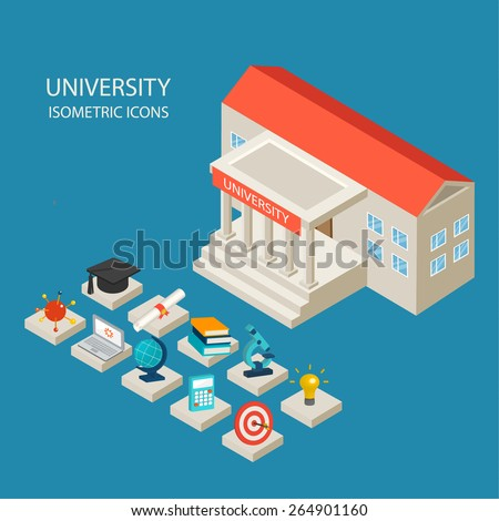University building and isometric 3d education icons set in flat design style, vector illustration. Includes graduation hat, diploma, laptop, books,  etc. - stock vector