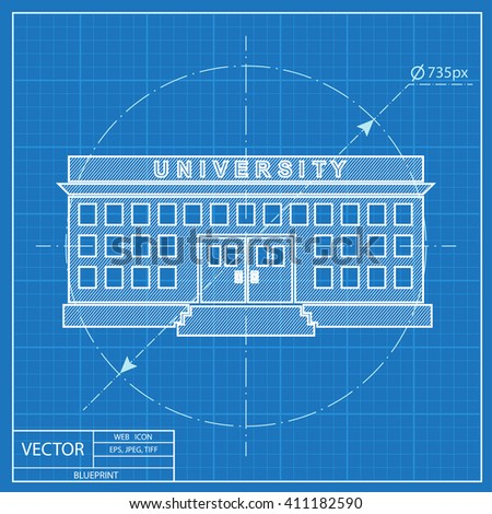 University building blueprint style stock vector 411182590 university building blueprint style malvernweather Images