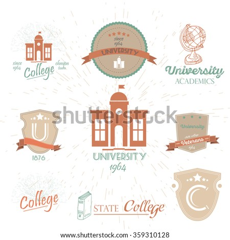 University Emblems And Symbols - Isolated On White Background.Graphic Design Editable For Your Design.Set of university and college school crests.High School and congratulations graduate logo set.  - stock vector