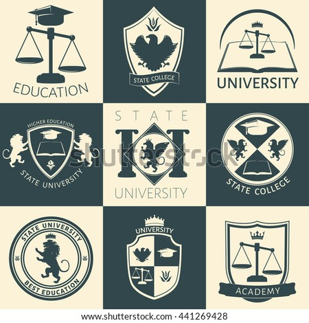 University heraldry vintage stickers with eagle lion flower crown book scales academic cap isolated vector illustration - stock vector