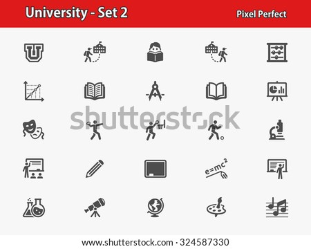 University Icons. Professional, pixel perfect icons optimized for both large and small resolutions. EPS 8 format. - stock vector