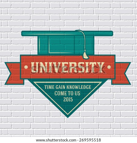 University logo or label template  with blurred background on brick wall. Vector illustration with shape a ribbon isolated icons for your product or design, web and mobile applications with text. - stock vector