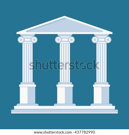University or college building illustration. Cartoon flat vector illustration. Objects isolated on a background.