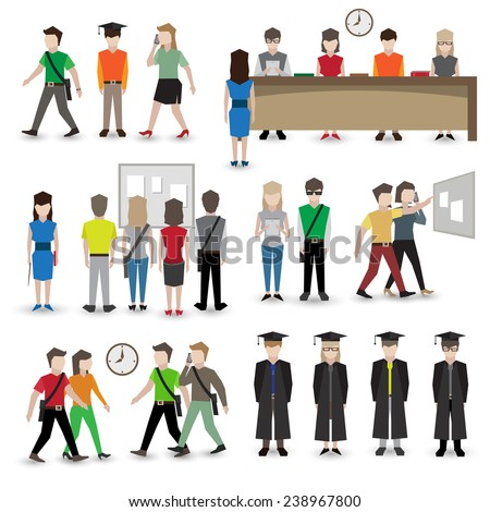 University school and college education students people avatars set vector illustration