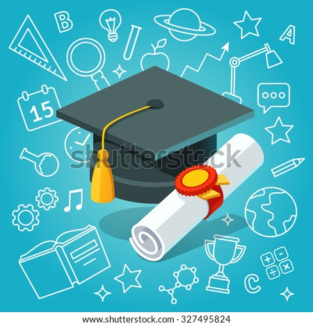 University student cap mortar board and diploma with official stamp and ribbon on education icons background. Flat style vector illustration. - stock vector