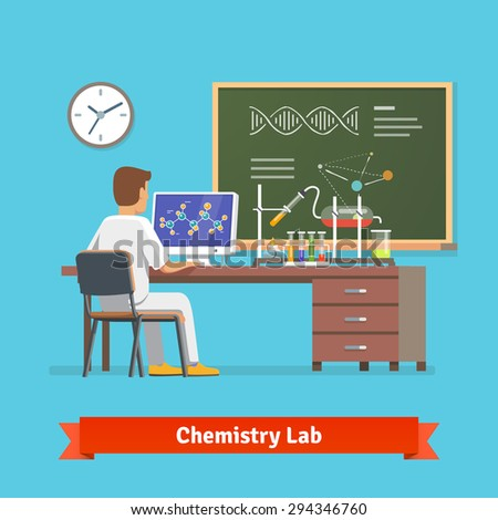 University student doing research in chemistry lab. Looking at molecular structure of chemical compound received in experiment. Flat vector illustration. - stock vector