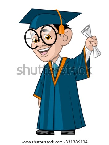 University student in his graduation,holding the diploma - stock vector