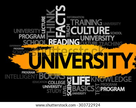 UNIVERSITY. Word business collage, vector background - stock vector