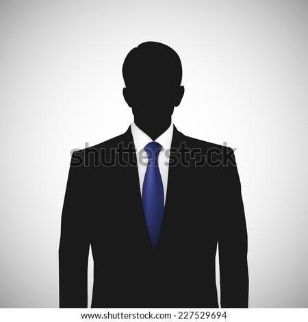 Unknown person silhouette  whith blue tie. Profile picture, silhouette profile - stock vector