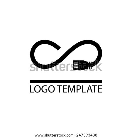 unlimited internet company logo template - provides access to worldwide network access - stock vector