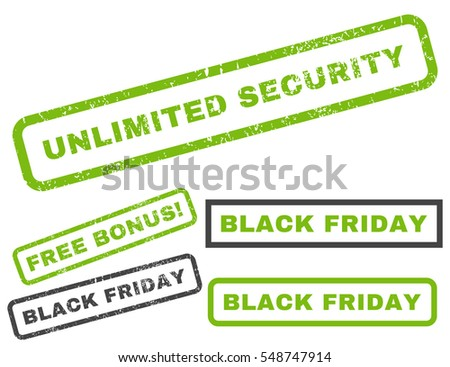 Unlimited Security rubber seal stamp watermark with additional design elements for Black Friday offers. Vector light green and gray signs.