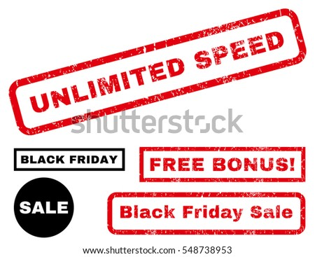 Unlimited Speed rubber seal stamp watermark with bonus design elements for Black Friday offers. Vector red and black emblems. Tag inside rectangular shape with grunge design and dirty texture.