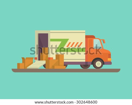 Unloading or loading trucks. Shipping cargo delivery, export or import,  transportation and logistic, flat vector illustration - stock vector