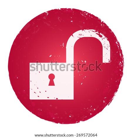 Unlock icon. Grunge style stamp. - stock vector