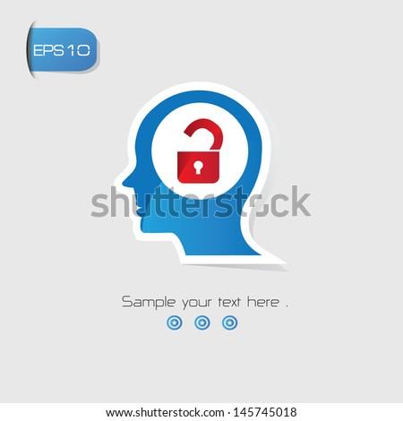 Unlocked Brain Thinking symbol,vector - stock vector