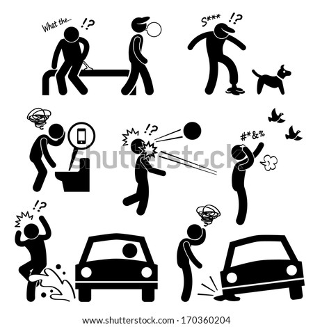 Unlucky Man Bad Luck People Karma Stick Figure Pictogram Icon - stock vector