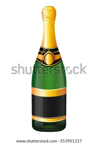 Unopened bottle of champagne isolated on a white background. Vector illustration.