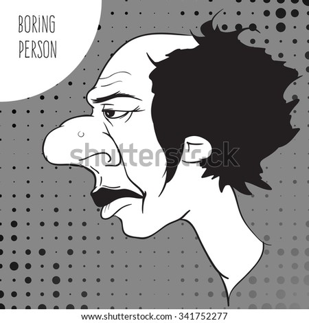 Unpleasant bored balding man. Funny vector illustration