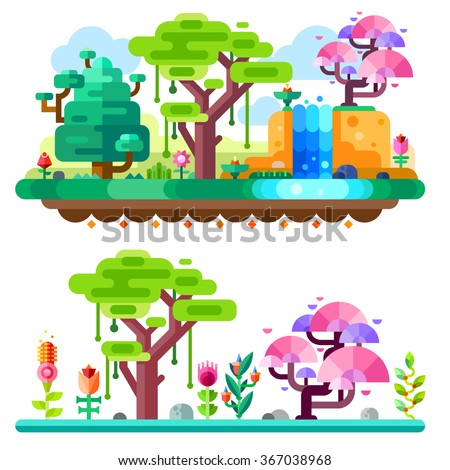 Unreal tropical forest on landscape made with marvelous colors. African jungle. Fairy forrest. Flat vector illustration set.  - stock vector
