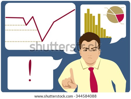 Unsuccessful businessman points with his finger, on the background with charts, vector image