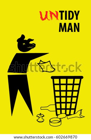 Untidy tidy man symbol man throw litter past the basket keep clean icon
