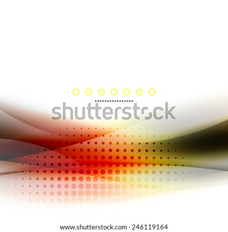 Unusual abstract background - blurred wave on white, shiny template with dot texture - stock vector