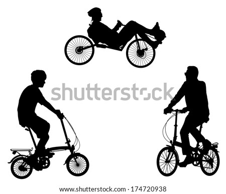 unusual bicyclist silhouettes - stock vector