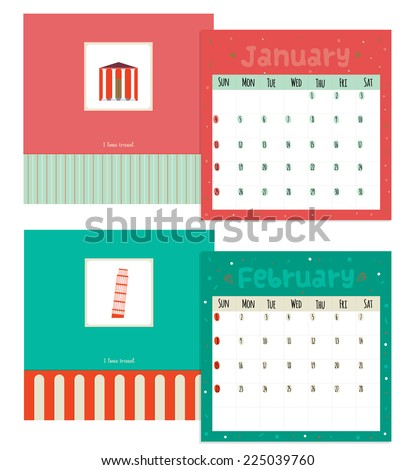 Unusual calendar for 2015 with cartoon and funny travel postcard illustration in flat design style. Vintage collection. Can be used like happy birthday cards. Good organizer and schedule. - stock vector