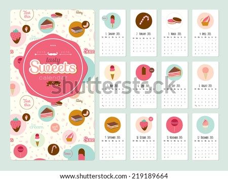 Unusual calendar for 2015 with cartoon backing tasty sweets. Vector illustration in cute style. Vintage collection. Can be used like happy birthday cards. Good organizer and schedule. - stock vector