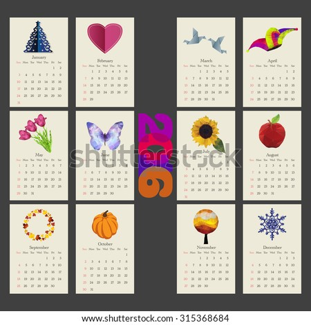 Unusual calendar 2016 year design with symbols month in triangle style, English, Sunday start - stock vector