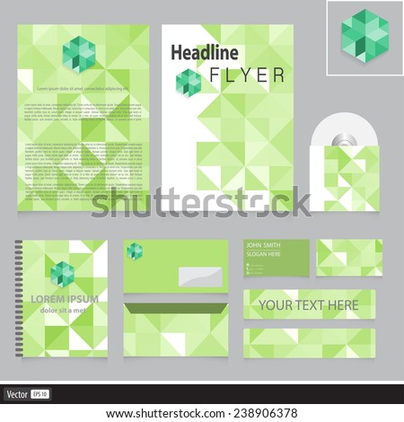 Unusual corporate identity with triangles for your company. Creative business idea. Vector illustration.