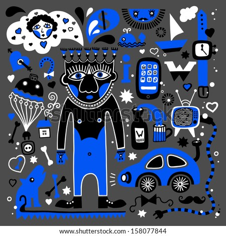 unusual decorative pattern of masculine dreams, - car, television, woman, whisky, clock, telephone, yacht, travel, internet and others - stock vector