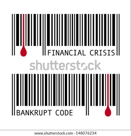 Unusual Financial Crisis Icon, Bankrupt Code, Barcode.  - stock vector