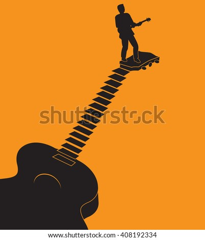 Unusual guitar graphic ideal for music gig announcements with space for text  - stock vector