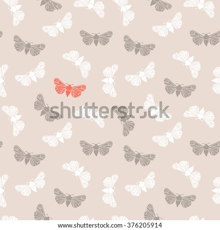 Unusual hipster seamless pattern with  clothes moth. Vector background. Abstract triangular style.  - stock vector