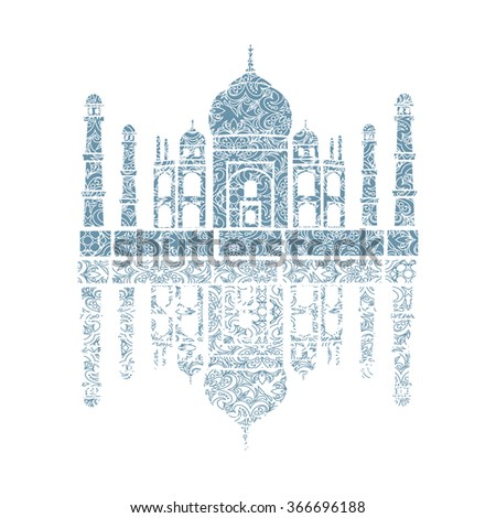 unusual illustration of Taj Mahal, India.  It achieved as a lace - stock vector