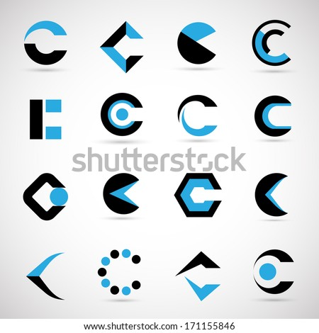 unusual letters set isolated on gray stock vector royalty free