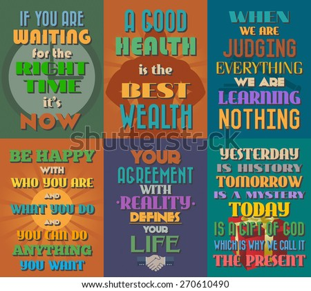 Unusual motivational and inspirational quotes posters. Set 9. Vector illustration - stock vector