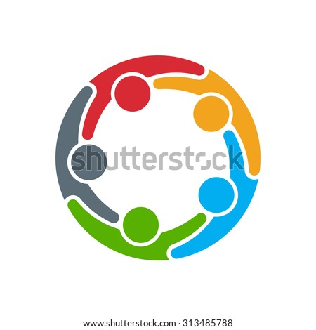 Unusual People logo. Group of five persons in circle  - stock vector