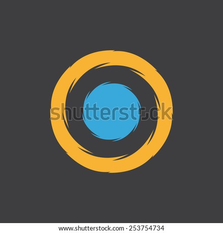 Unusual round logo with a blue dot in the center - stock vector