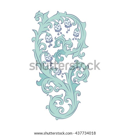 Unusual scroll with flowers and semi-antique skulls. A vector element for your design