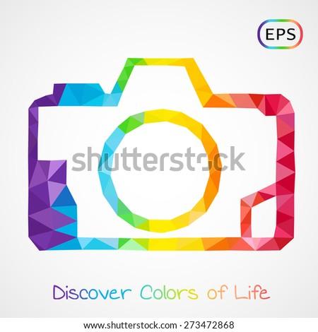 Unusual trendy polygonal photo camera logo isolated. Vector version  - stock vector