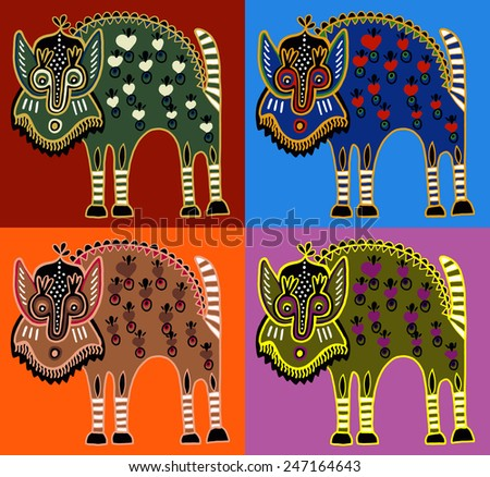 unusual Ukrainian traditional tribal art in karakoko style, folk ethnic animal, vector illustration