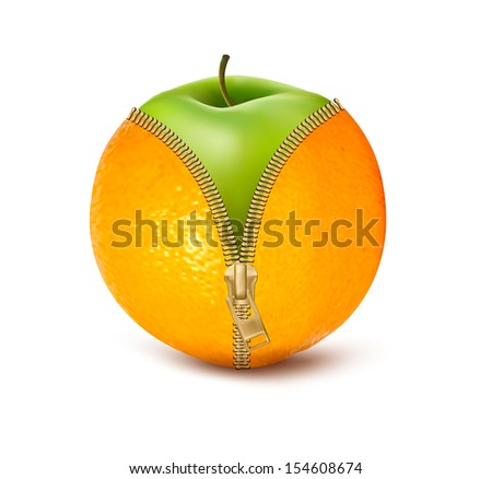 Unzipped orange with green apple. Fruit and diet against cellulite. Vector   - stock vector
