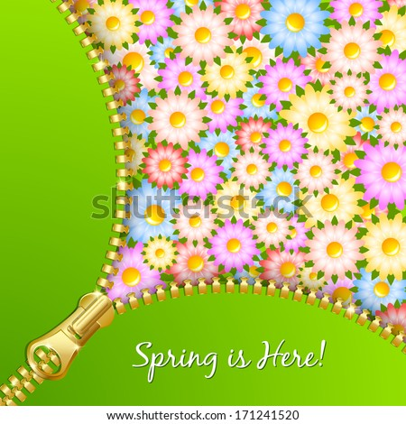 Unzipped zipper with spring floral pattern in the background - stock vector