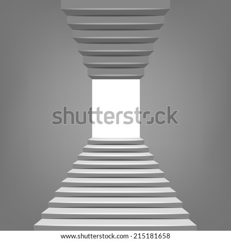 up and down staircase in black and white design illustration - stock vector