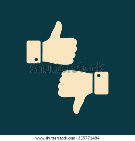 up and down, thumbs up and thumbs down icon. One of set web icons - stock vector