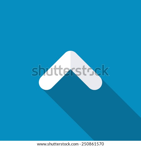 Up arrow angle icon. Modern design flat style icon with long shadow effect - stock vector