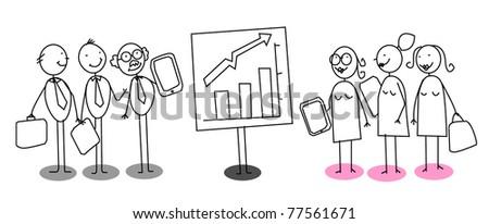 up chart man woman - stock vector